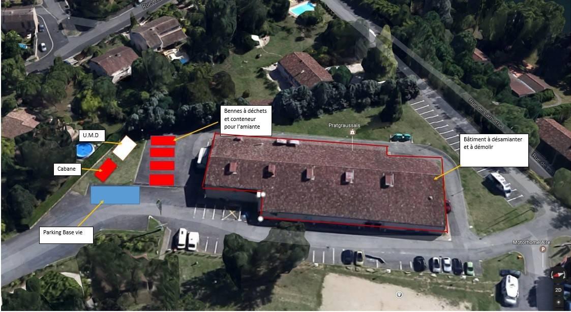 Démolition de la salle des fêtes de Pratgraussals à Albi (81)